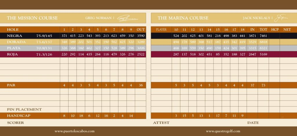 Puerto Los Cabos golf Scorecard PLC Scorecard Questro golf greg norman Jack nicklaus san jose del cabo questro golf cabo san lucas